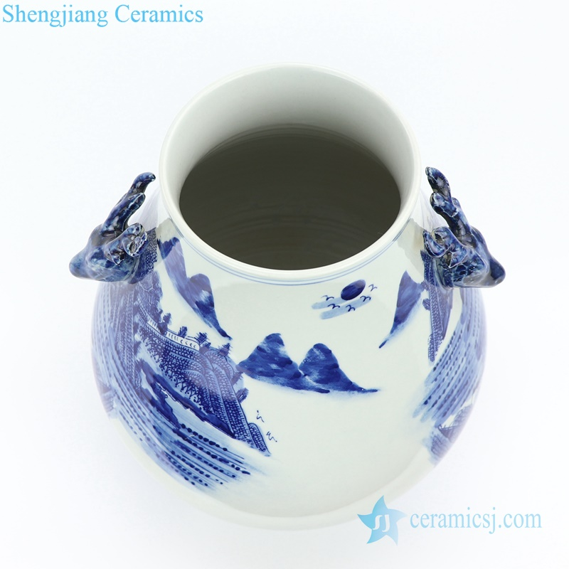 landscape ceramic vase with goat handle