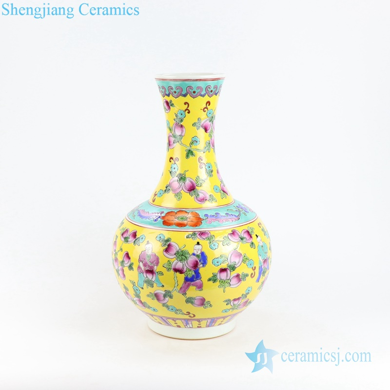 kid and melon porcelain vase