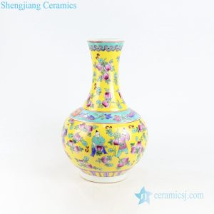 RYZG21 Yellow famille rose glaze kid and melon porcelain vase