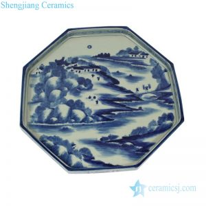 RZAJ12-B Chinese farmer life octagon blue and white porcelain tray
