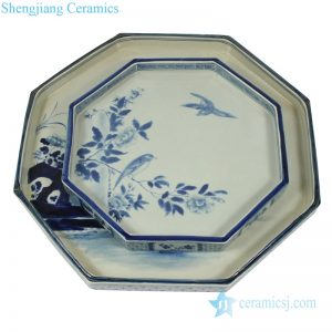 RZAJ12-C Hand painted blue and white octagon porcelain plate