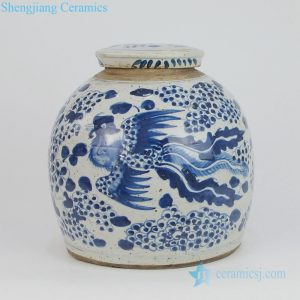 RZEY03-L-E Qing dynasty chinese mascot design ceramic tea jar with lid