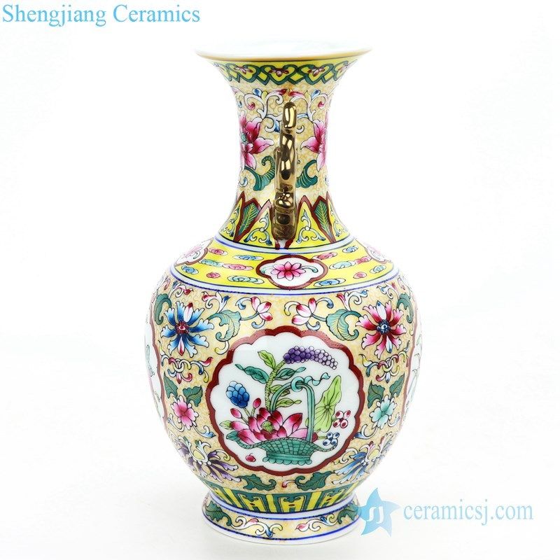 Lotus famille rose ceramic vase