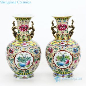 RZFA14 Famille rose yellow back ground pink lotus royal porcelain vase with gold dragon handles