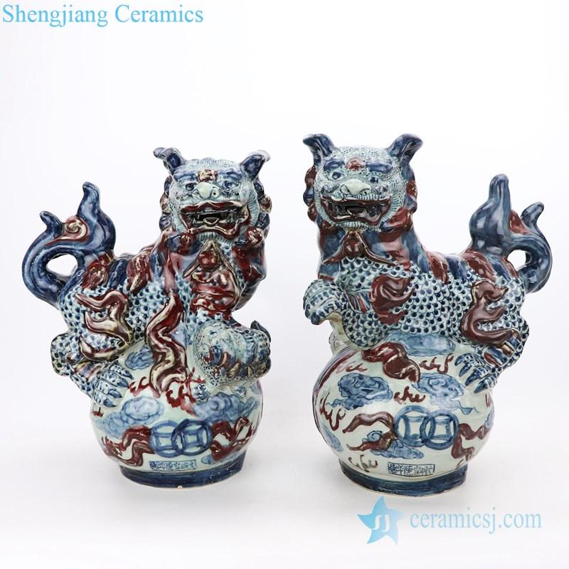 blue and underglaze red ceramic lion