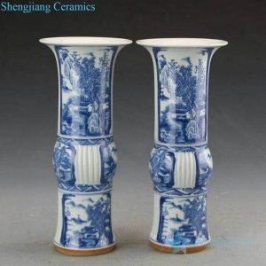 RZJI02 Hand painted blue and white landscape design ceramic vase