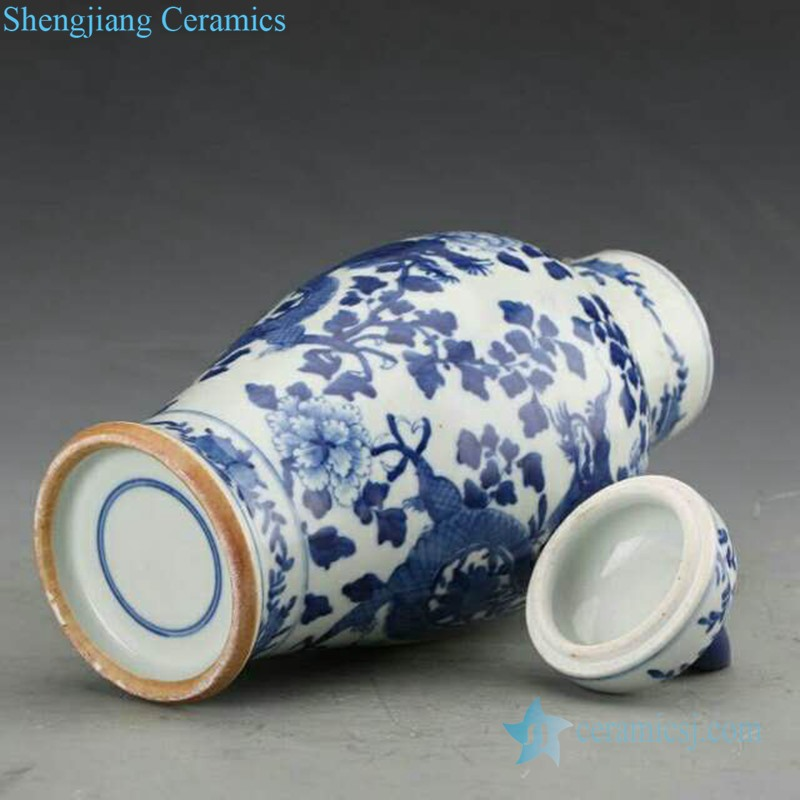 blue and white covered ceramic jar