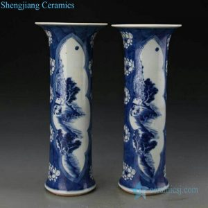RZJI04-B Ancient column shape flower pattern porcelain vase