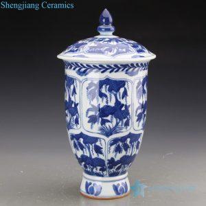 RZJI07 Jingdezhen precious leaves design blue and white ceramic jar