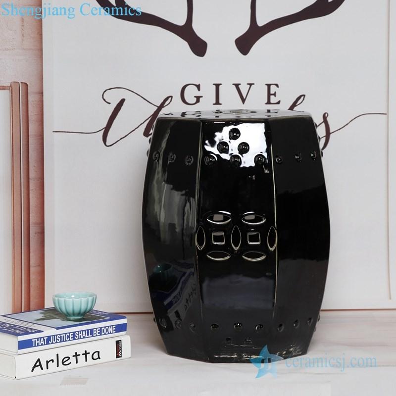 shinny black porcelain stool