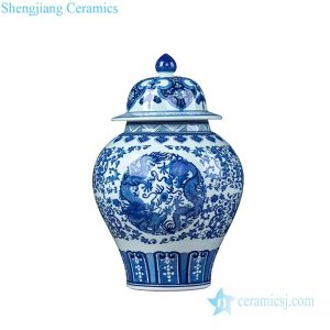 RZLG43 Traditional blue and white dragon design porcelain ginger jar