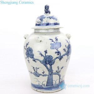 RZMV34-D     Ancient style covered tree design ceramic storage jar