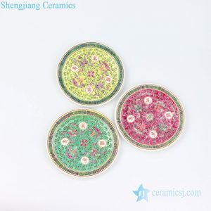 RZPV04-A/B/C Qing Dynasty style reproduction famille rose yellow green red porcelain plate