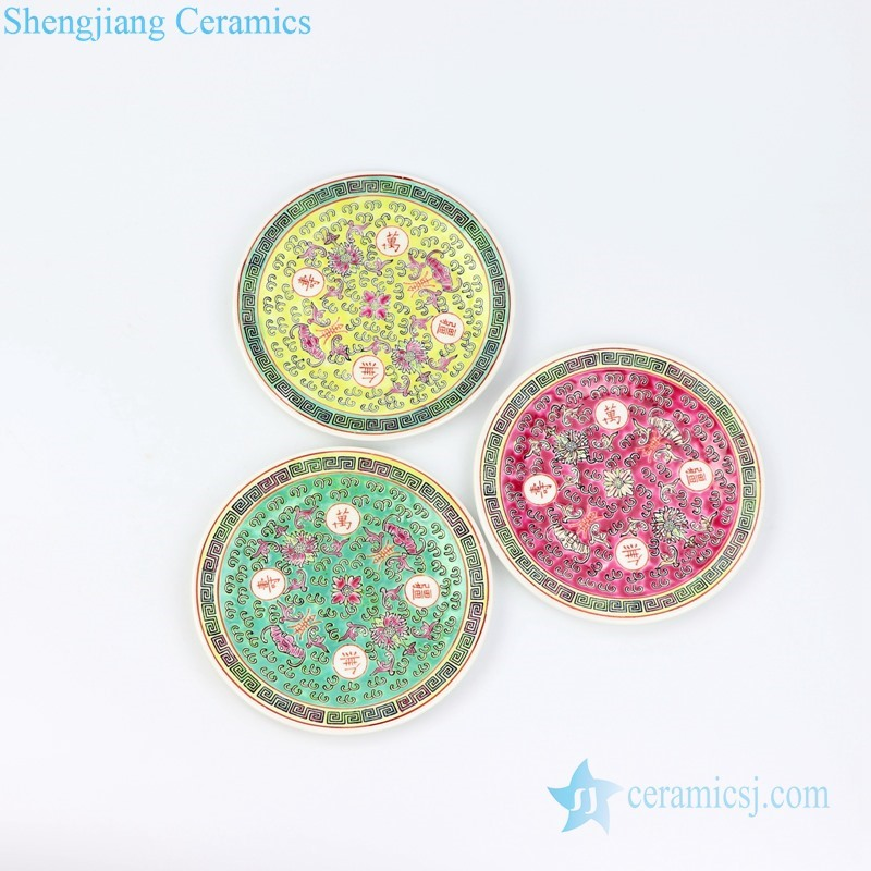 three color ceramic plate