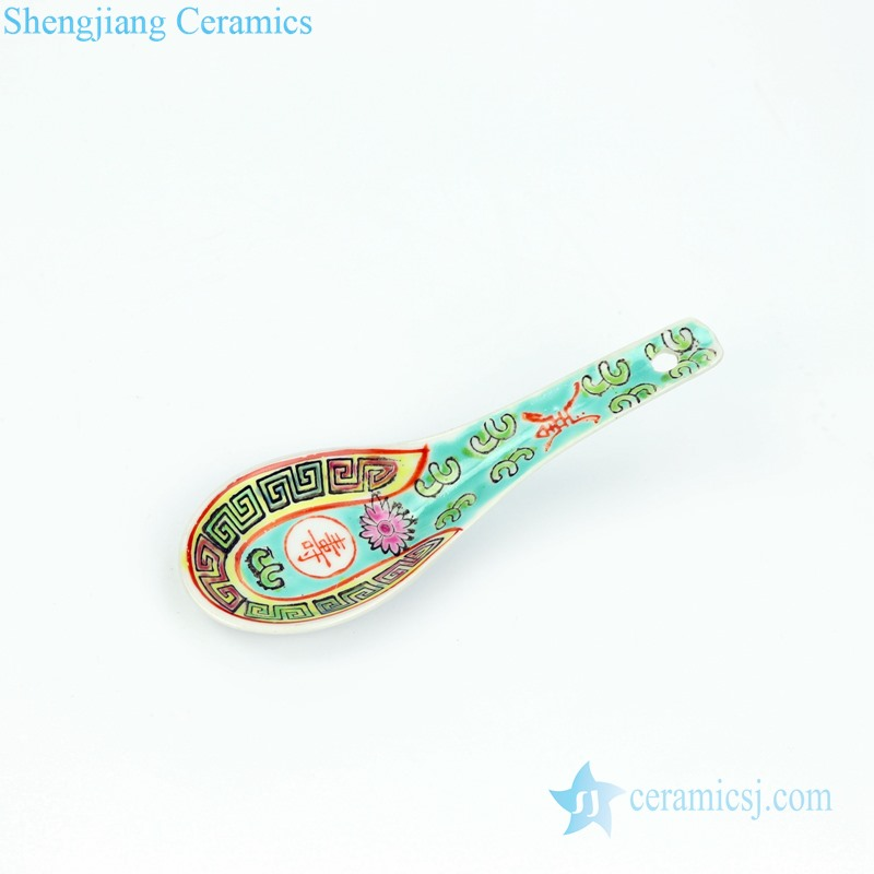 RZPV05 Green color famille rose longevity ceramic spoon