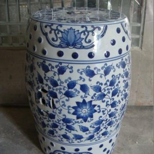 RZPZ10 Refractory blue and white ceramic with leaves design stool