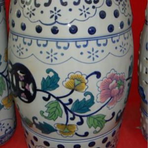 RZPZ12 Hand painted coloful flowers and leaves design ceramic stool