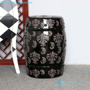 RZPZ15 Black background ceramic with distinctive carved design stool