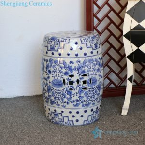 RZPZ18 Jingdezhen distinctive interlocking branches pattern porcelain stool