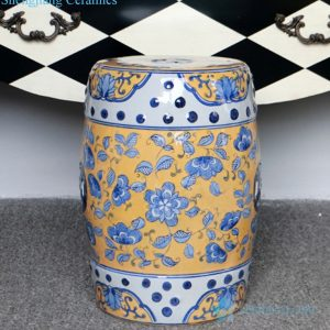 RZPZ19 Yellow background fantastic flowers design ceramic stool