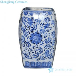 RZPZ21 Four sides blue and white floral design ceramic stool