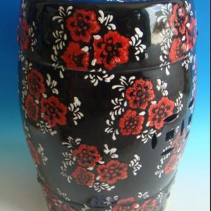 RZPZ22 Black background red flowers pattern ceramic stool