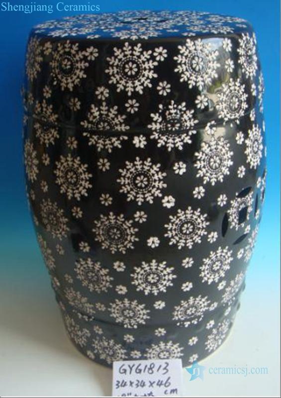snowflake design ceramic stool