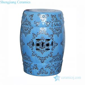 RZPZ24 Blue background hand carved pattern home decorative ceramic stool