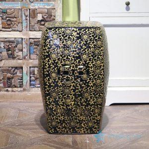 RZPZ29 Black background yellow carving flower design porcelain stool