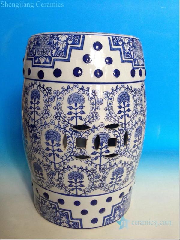 tree design ceramic stool