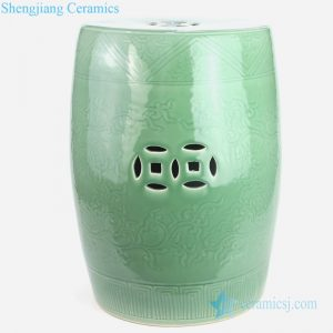RYMA102-B China lemon green carved floral ceramic stool