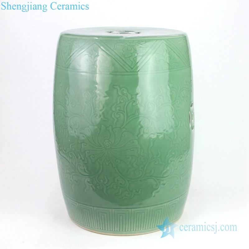 lemond green carved ceramic stool