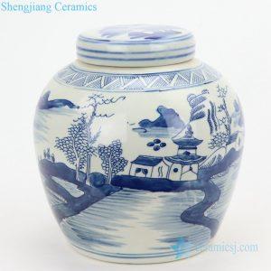 RYVM26-C China landscape flat lid porcelain jar