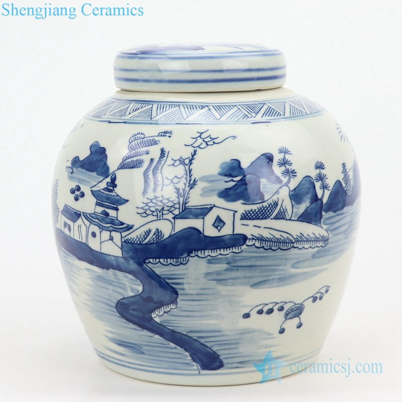 China landscape porcelain jar