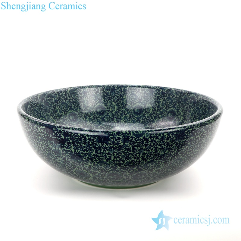 curled green lotus ceramic bowl