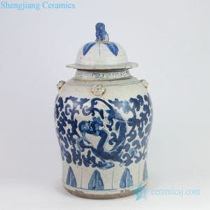 RZEY12-K Crude clay design hand paint dragon pottery jar