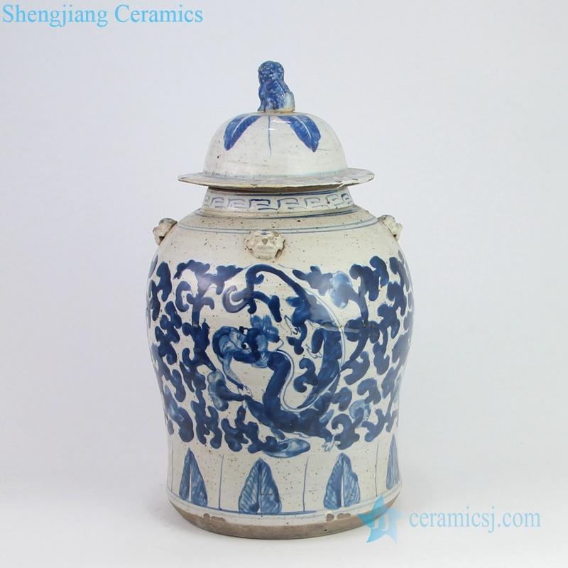 hand paint dragon pottery jar