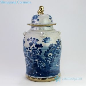 RZEY12-L-B-SMALL Hand painted gold rim bird floral ceramic jar