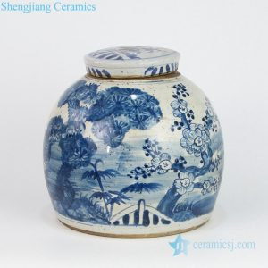 RZEY16-S-E Old looking hand painted pine bamboo winter sweet clay jar