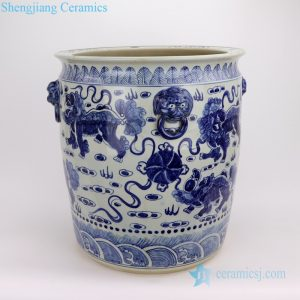 RZFH02-D Hand craft blue and white lion pattern ceramic fish pond