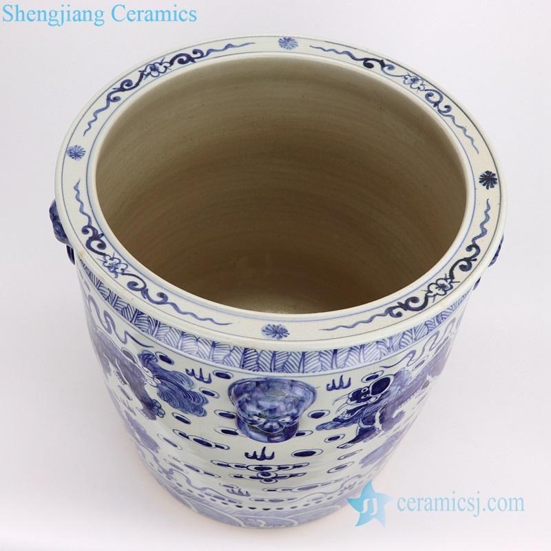 lion ceramic planter