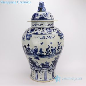 RZFH08-B Dark blue China the 8 immortals ceramic jar with lion knob