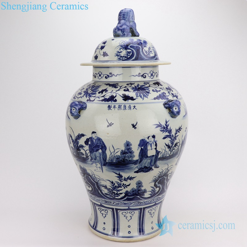 blue China 8 immortals people ceramic jar lion lid