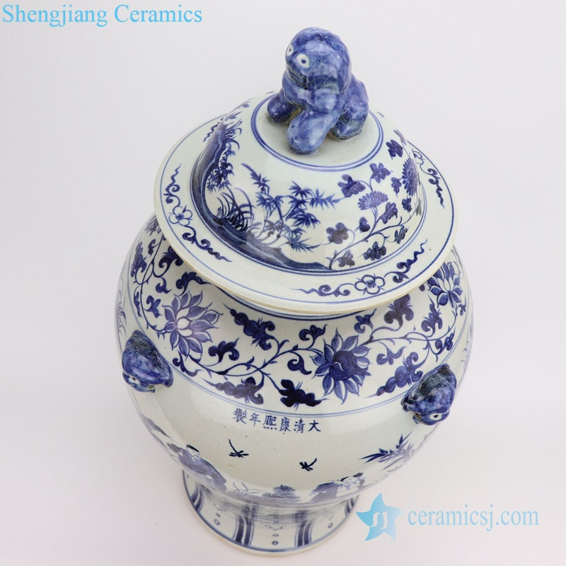 blue China 8 immortals ceramic jar
