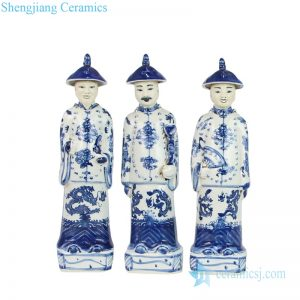 RZKC23 Blue and white Chinese 3 emperors porcelain figurine