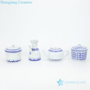 RZKG12-13-14 Blue and white restaurant ceramic pot for spices