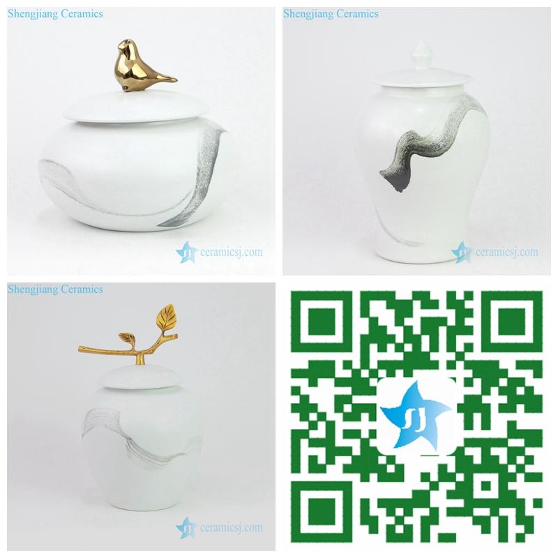 brush free hand paint ceramic jar