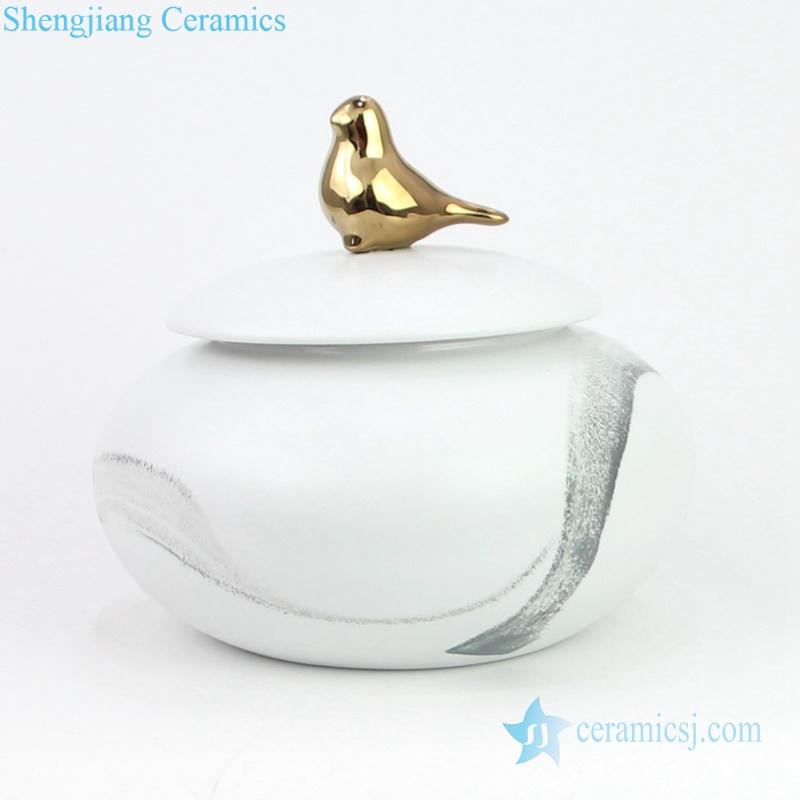 gold bird top ceramic jar