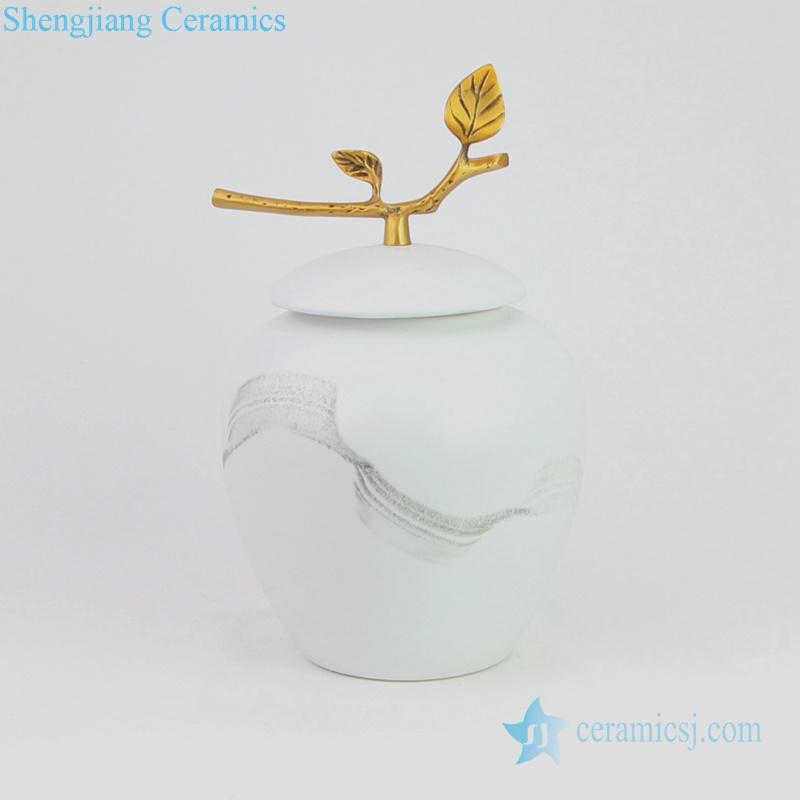 gold branch lid ceramic jar