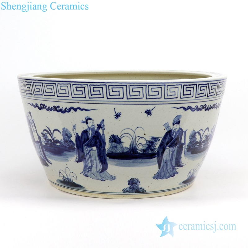 eight immortals ceramic pot